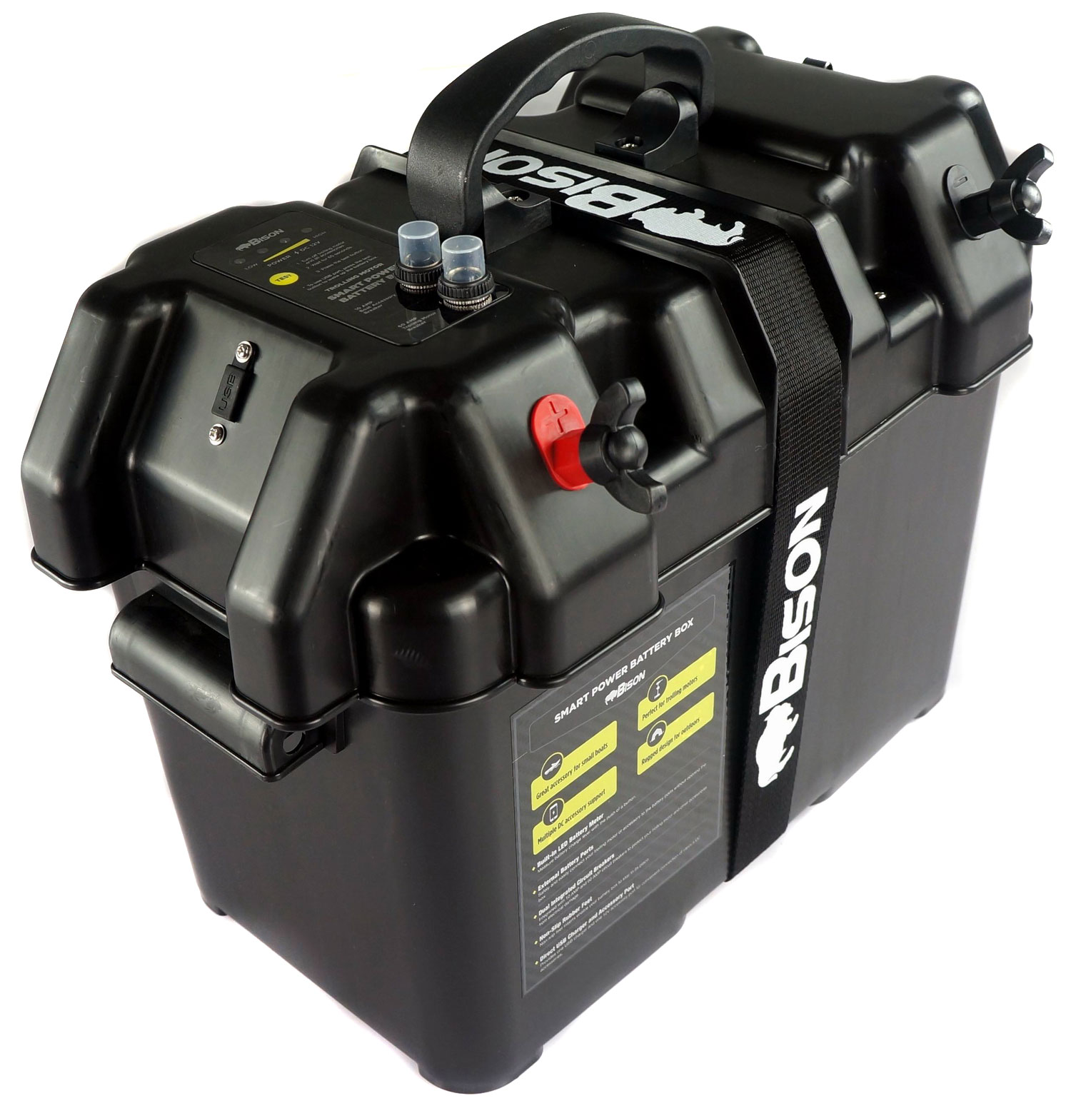 BISON BATTERY BOX CARRIER WITH USB CHARGER,LED METER ...