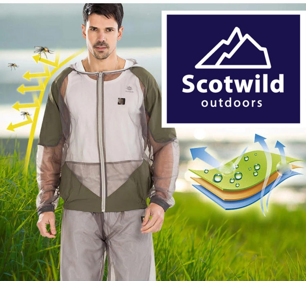SCOTWILD MIDGE MOSQUITO SUIT COMPLETE PROTECTION FROM BITING INSECTS