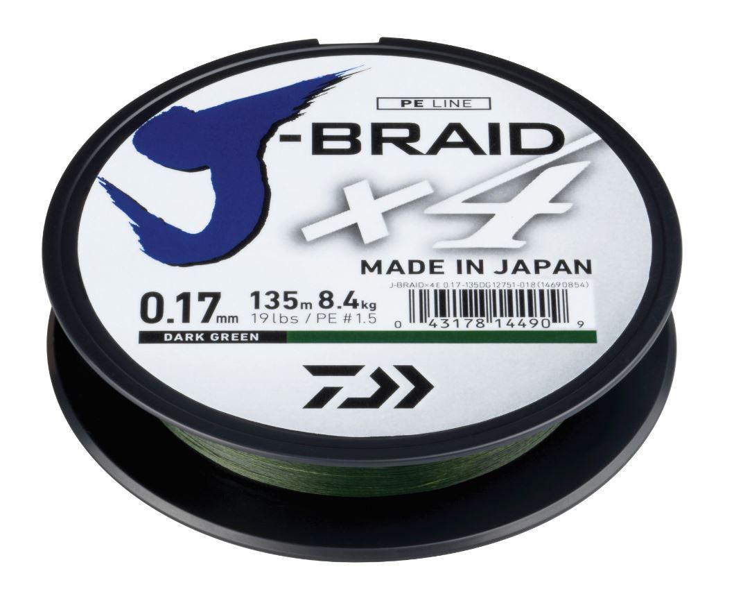 New-Daiwa-J-Braid-X4-Fishing-Line-135m-Spool-All-Colours-amp-Breaking-Strains
