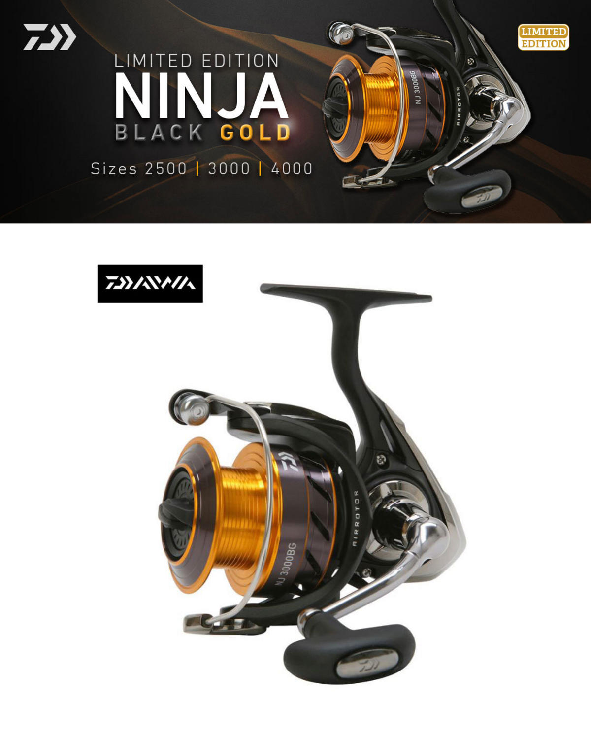 New Daiwa Ninja Black & Gold Limited Edition Fishing Reel - All Models