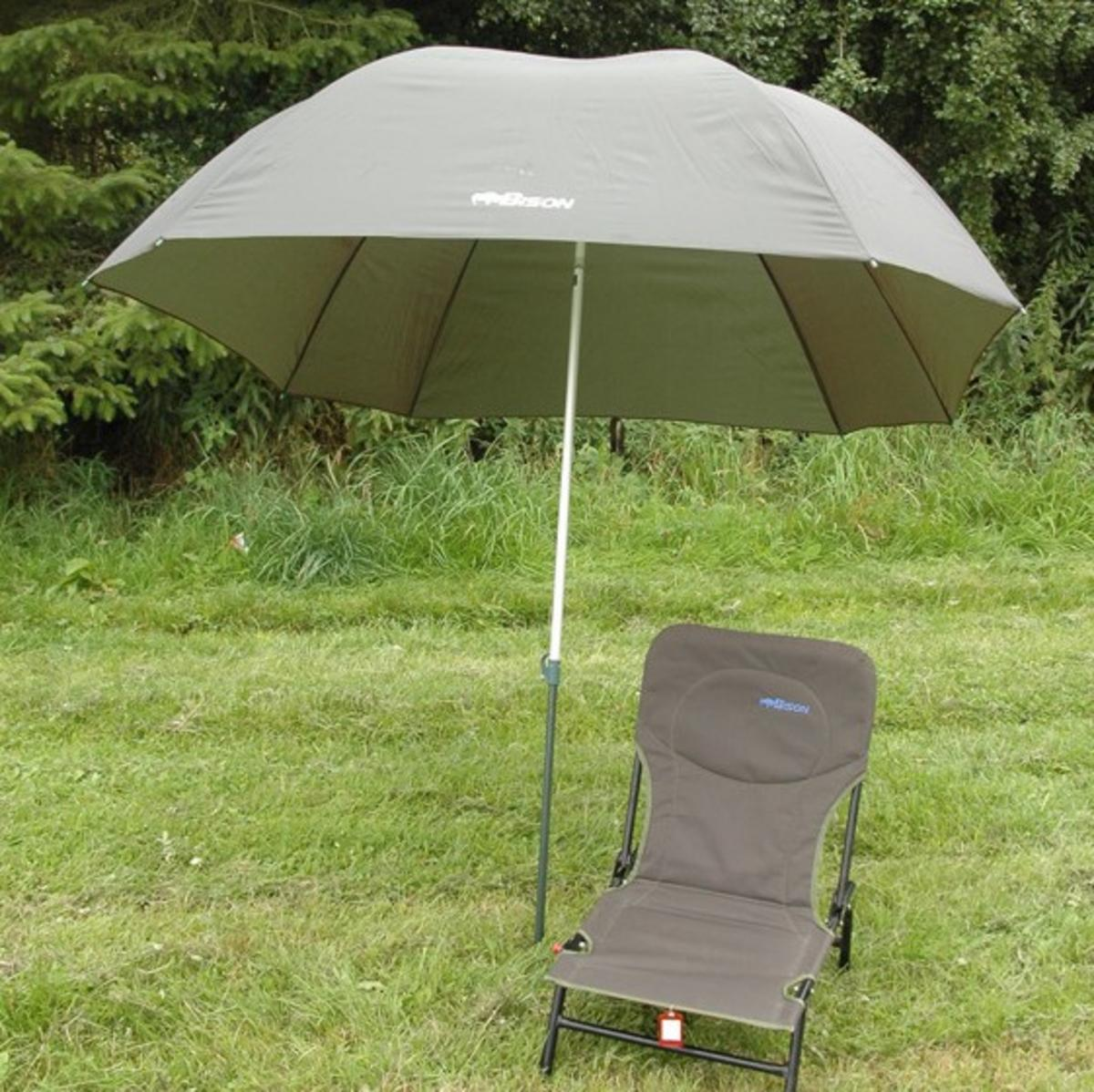 "98"" 2.5m  BISON TOP TILT FISHING UMBRELLA BROLLY SHELTER + CARP CHAIR"