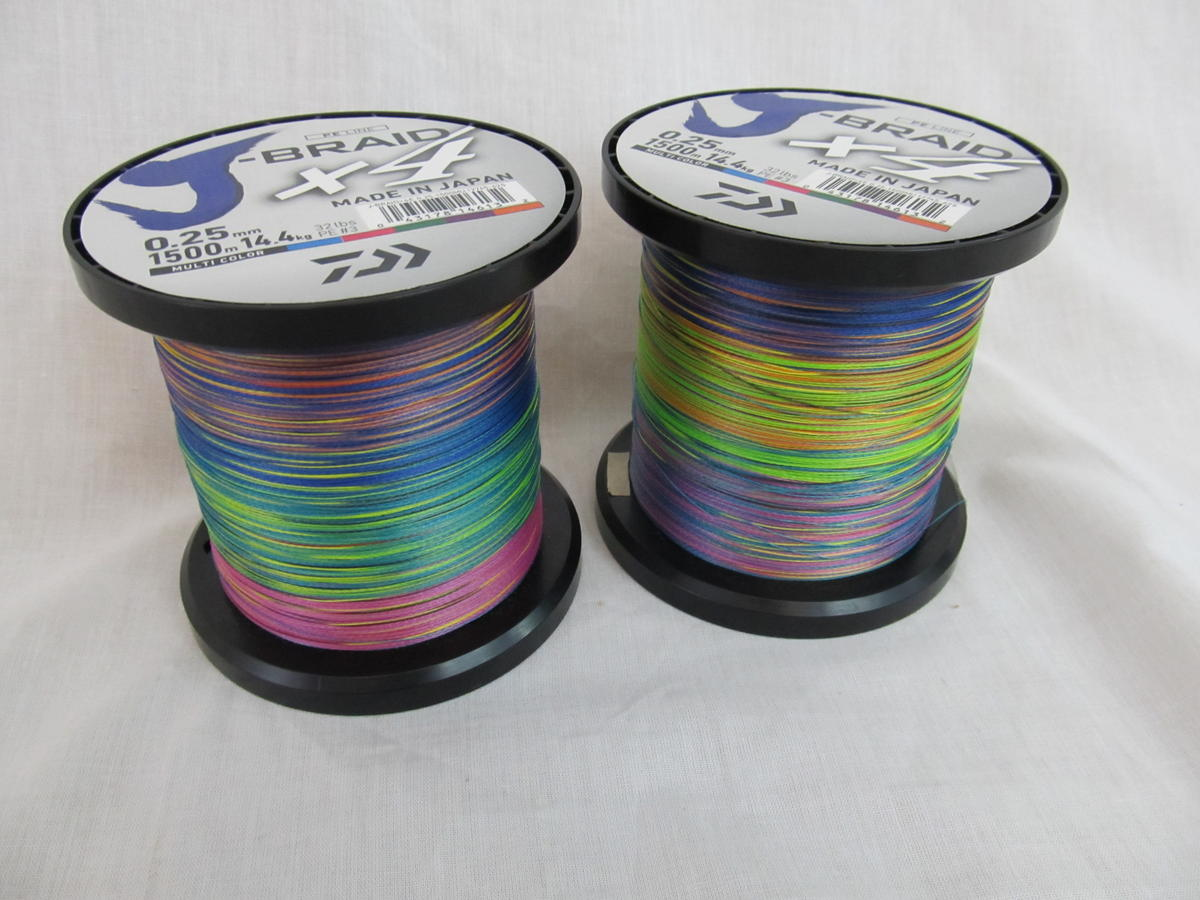 EX DISPLAY J-BRAID X 4 PE LINE 1500M 32LB MULTI COLOUR CLEARANCE OFFER