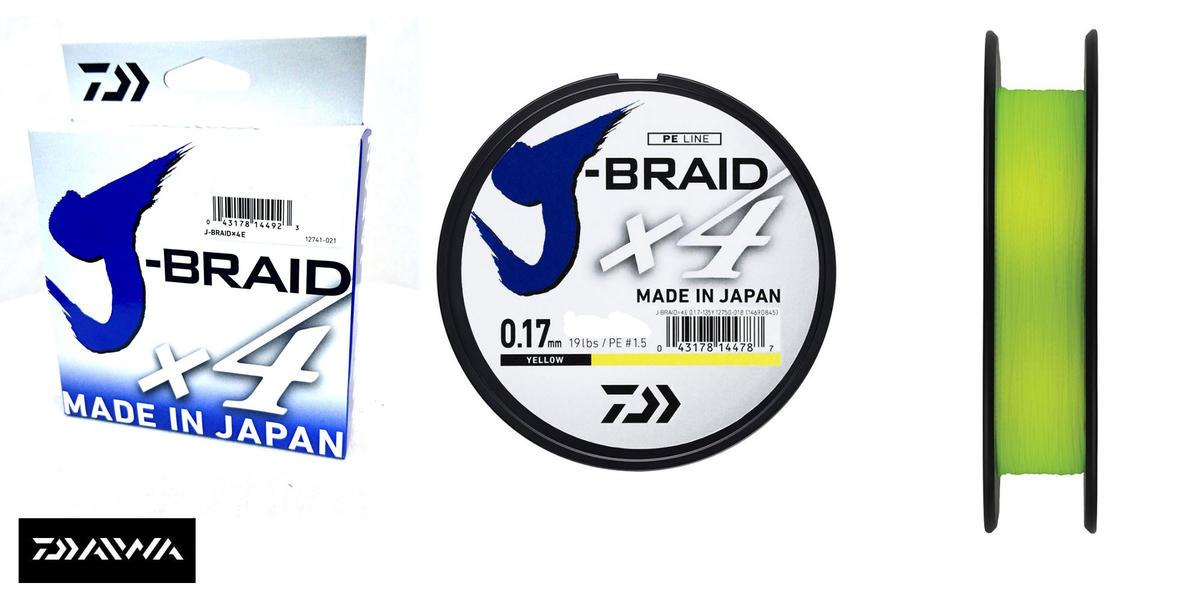 New Daiwa J-Braid X4 Fishing Line Yellow 270m Spool - All Breaking Strains