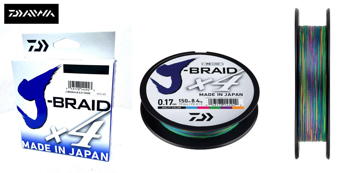New Daiwa J-Braid X4 Fishing Line Multi Colour 300m Spool - All Breaking Strains