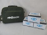 EX DISPLAY BISON 6 SPINNING REEL CARRY CASE WITH 3 FIXED SPOOL SPINNING REELS