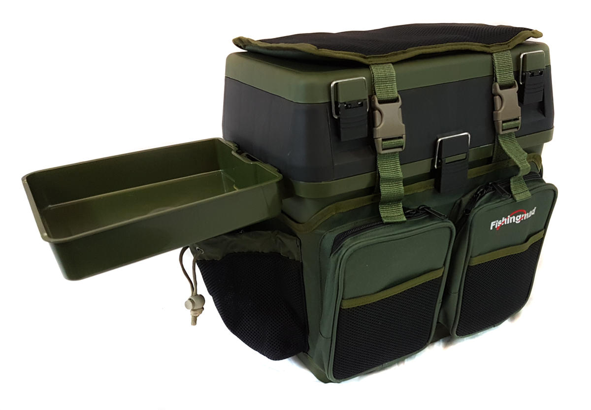 FISHINGMAD FISHING TACKLE ROVING SEAT BOX WITH SIDE TRAY & LINER OPTIONS