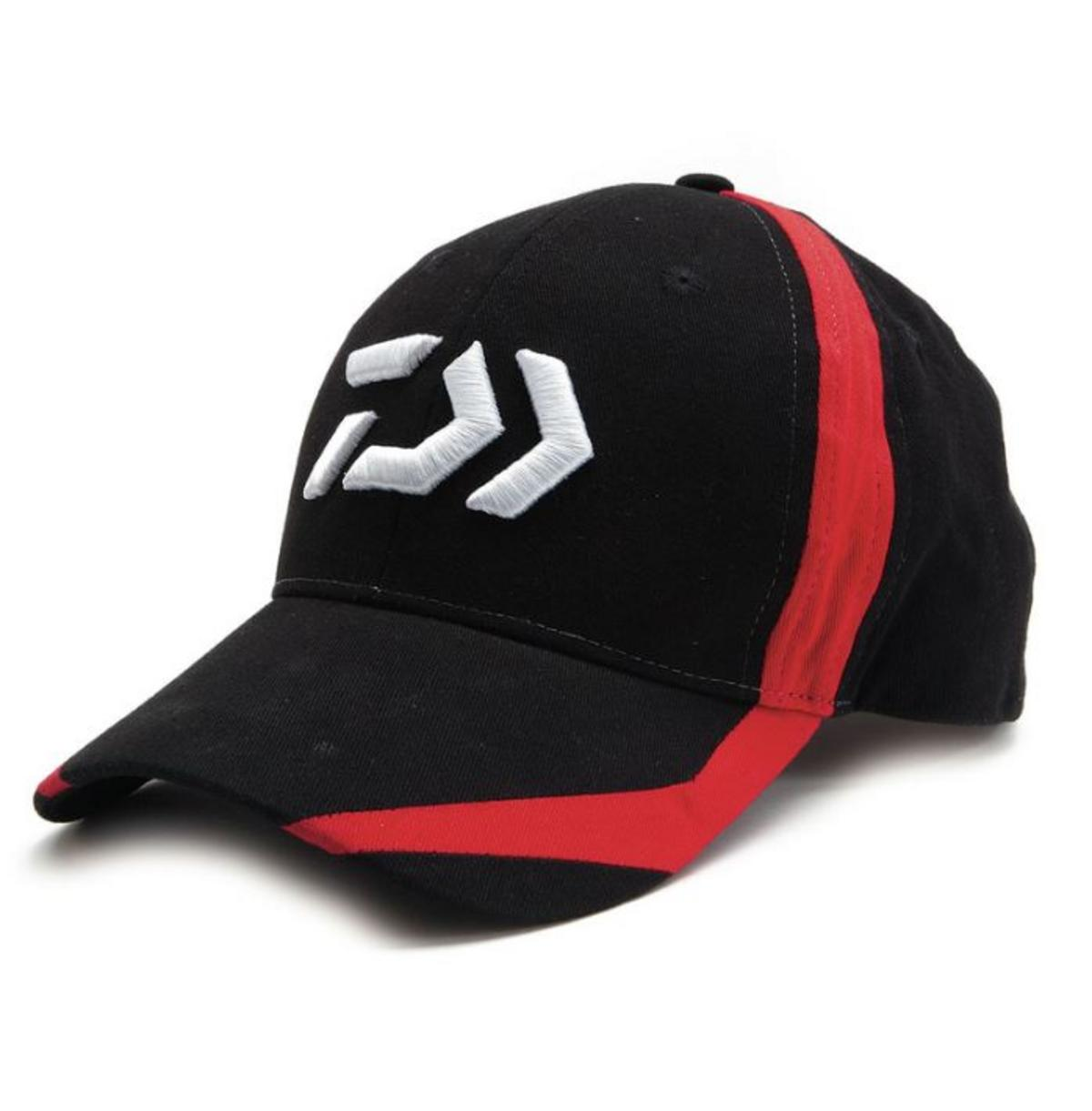 New Daiwa D-Vector Logo Fishing Cap - Black / Red - DC3