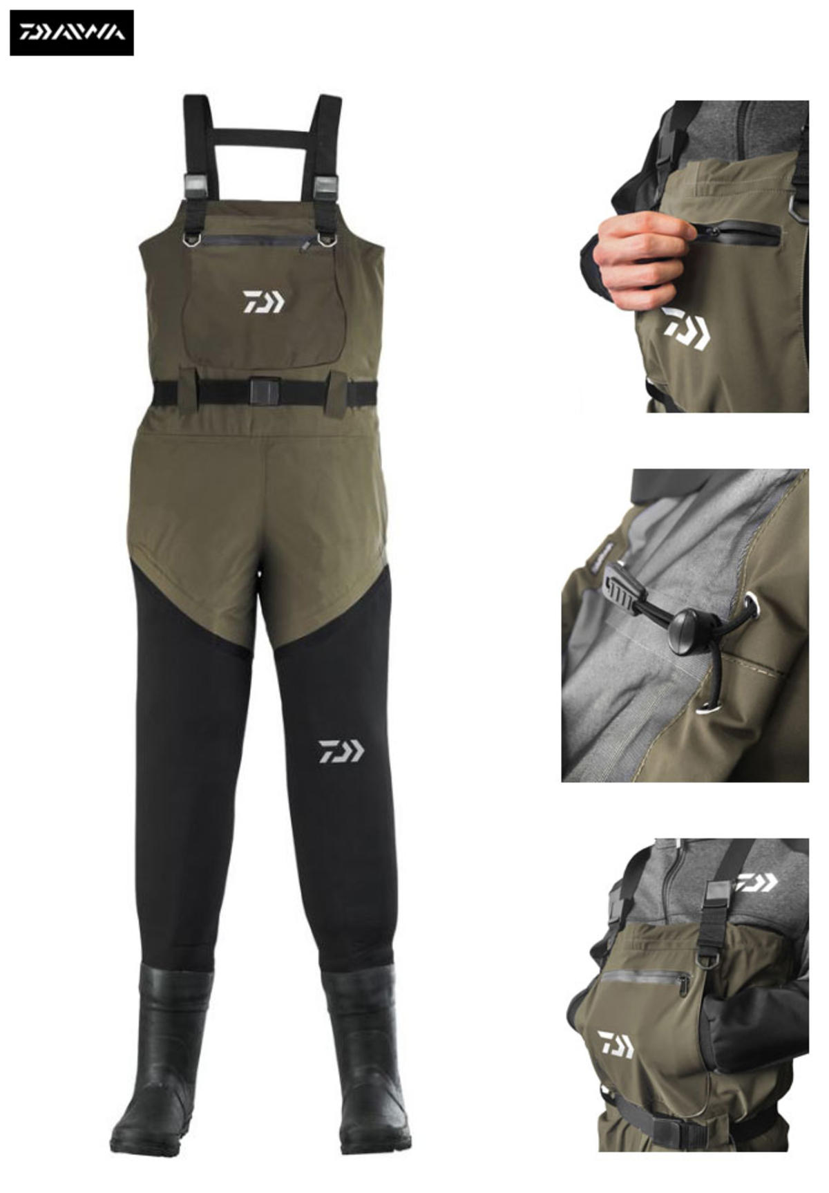New Daiwa Hybrid Lightweight Breathable / Neoprene Chest Waders - All Sizes