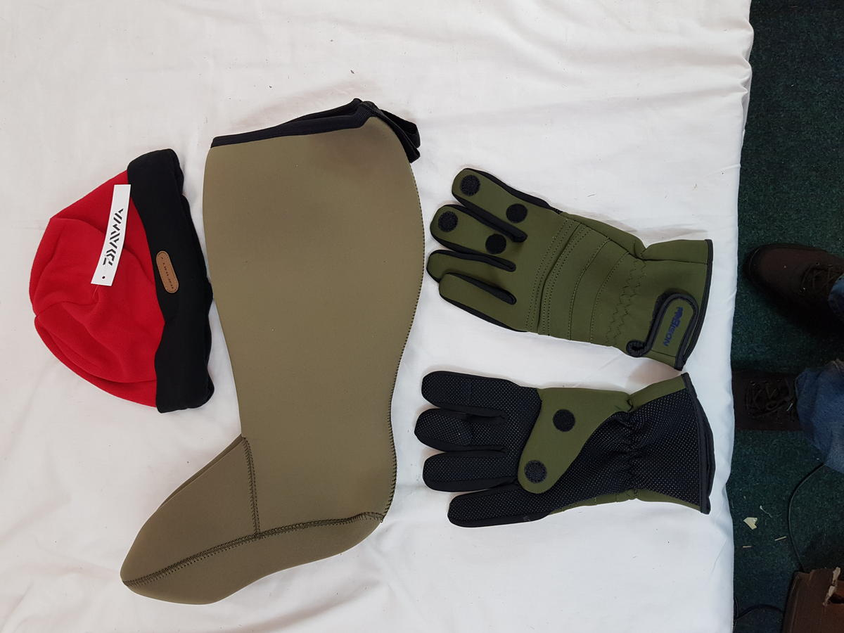 NEOPRENE GLOVES SOCKS AND DAIWA HAT, FISHING ,SHOOTING