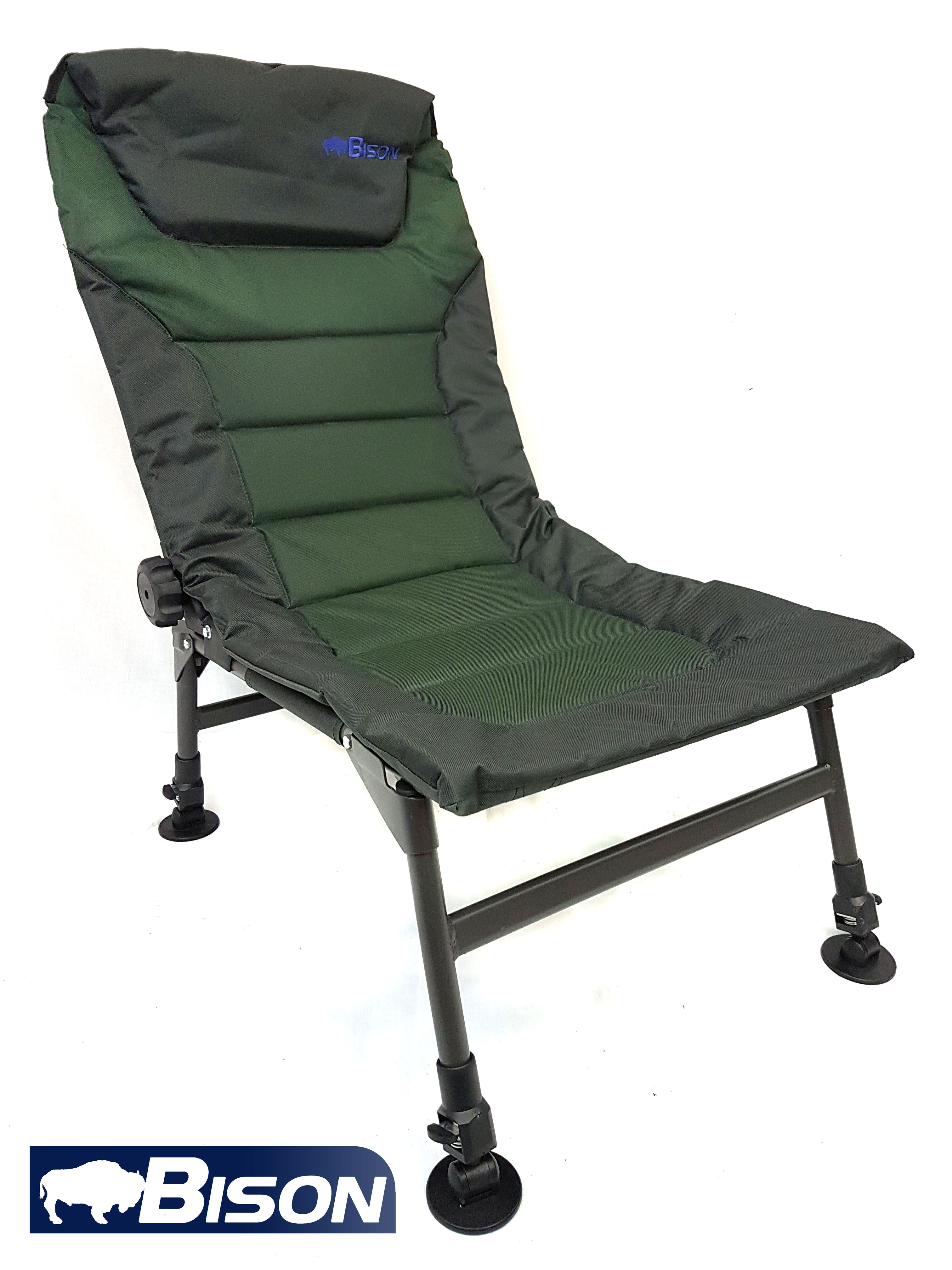 Bison Adjustable Legs And Back Recliner Fishing Carp Chair