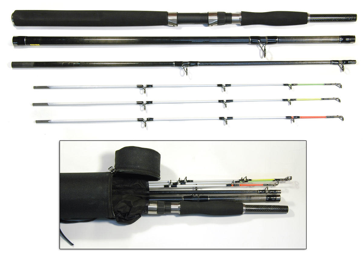 6 39 8 39 bison multi tip boat pier spin travel rod cordura for Fishing rod travel tubes