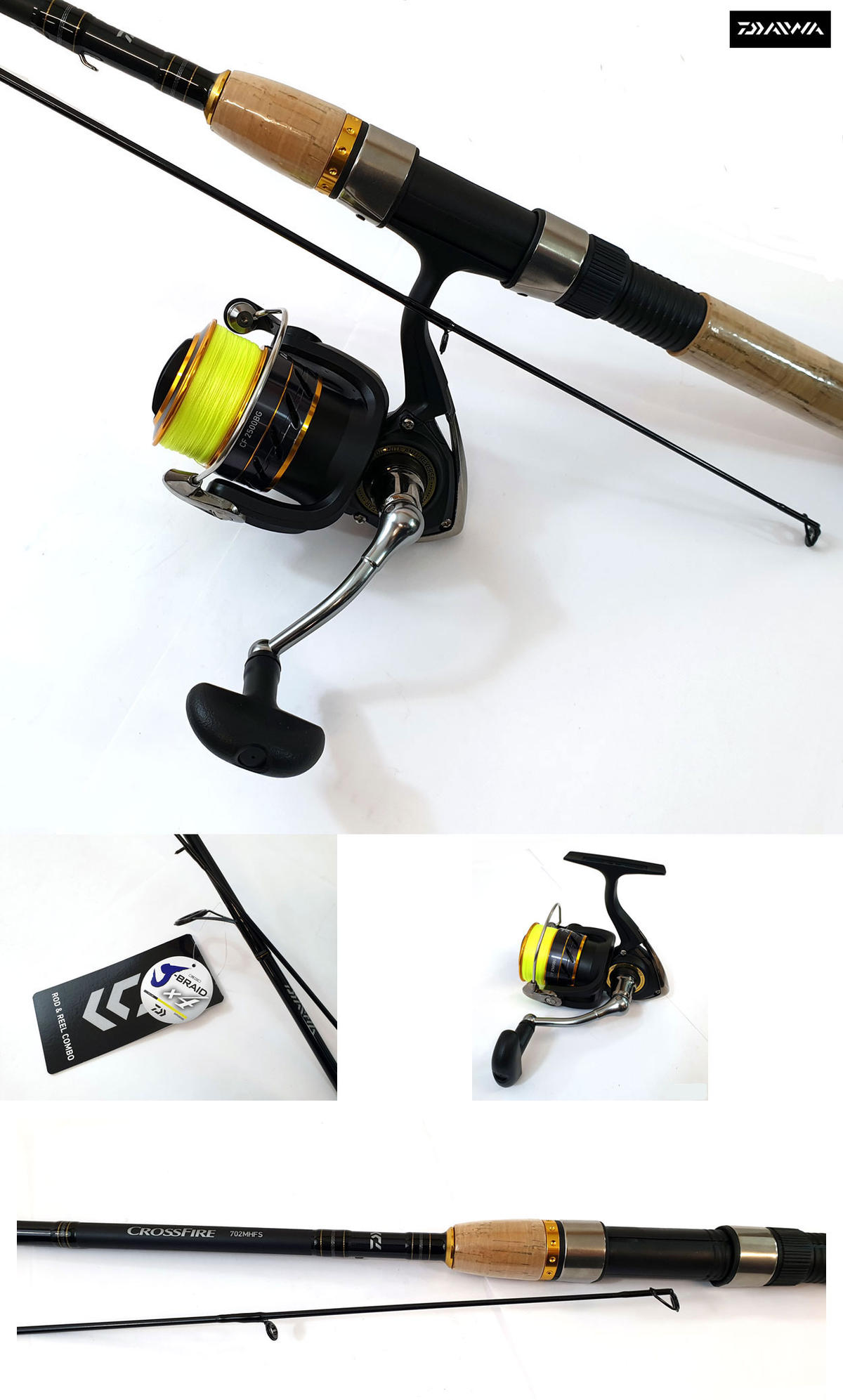 Daiwa Crossfire X Fishing Combo - 7ft Rod & Crossfire Reel - Loaded with J-Braid
