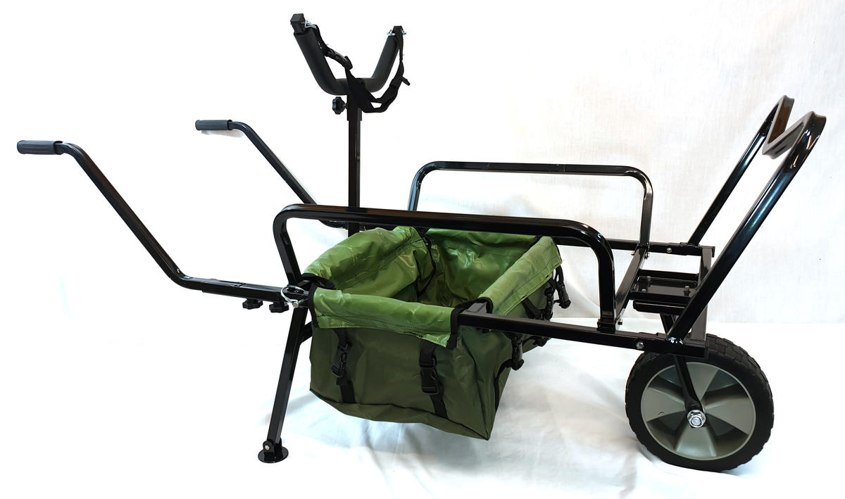 BISON HEAVY DUTY FISHING ONE WHEEL BARROW, BARROW BAG + Y BAR FISHING TROLLEY