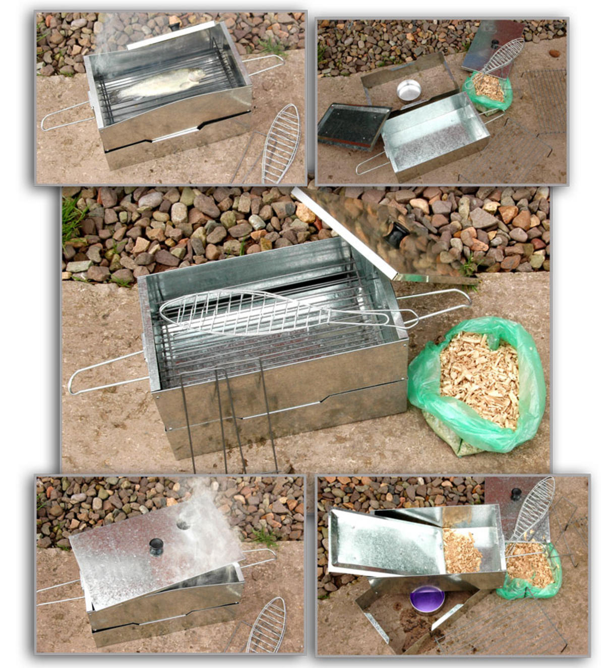 NEW FISH MEAT HOT SMOKER COOKER COMPLETE WITH FREE WOOD CHIPS & FUEL