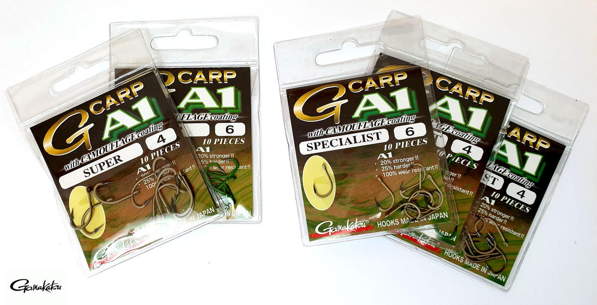 Special Offer Gamakatsu G-Carp A1 Super Camo Hooks - Green / Sand - Sizes 4/6/8