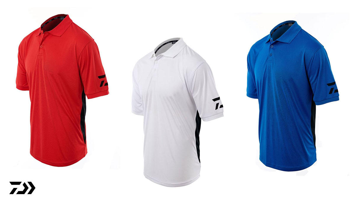 New Daiwa D Vec Polo Shirts - Red / White / Blue - Small - XXL