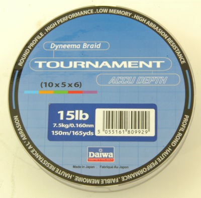 DAIWA TOURNAMENT ACCUDEPTH DYNEEMA 150M 15LB BRAID TO CLEAR