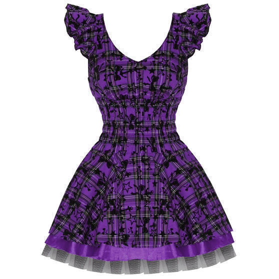 Hearts and Roses London Purple Tartan 1950s Dress