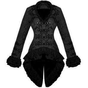 Hearts and Roses London Black Brocade Frock Coat