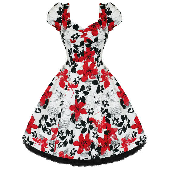 Hearts and Roses London Red Floral 1950s Dress