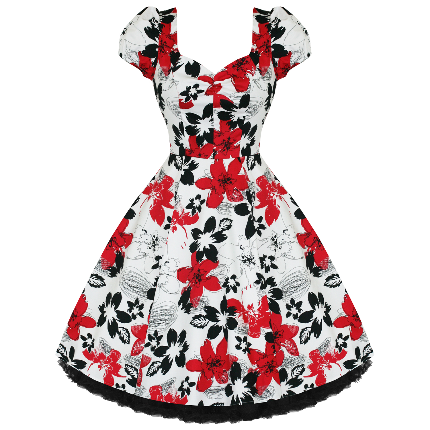 8ca2a4f0ade7b Hearts and Roses London Red Floral 1950s Dress | Plus Size Dresses |  Starlet Vintage