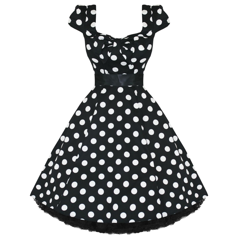 lrgscalestock_hr_dress_6690_blackbigwhiteedots_g hearts and roses london black polka dot 1950s dress plus size,H R London Womens Clothing