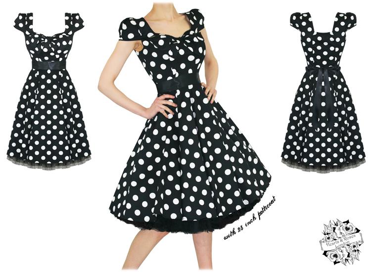 lrgstock_hr_dress_6690_blackbigwhiteedots_1 hearts and roses london black polka dot 1950s dress plus size,H R London Womens Clothing