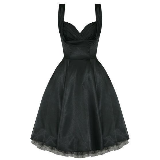 Ladies New Black Satin Vintage 50s Retro Pinup Party Prom Swing Evening Dress UK