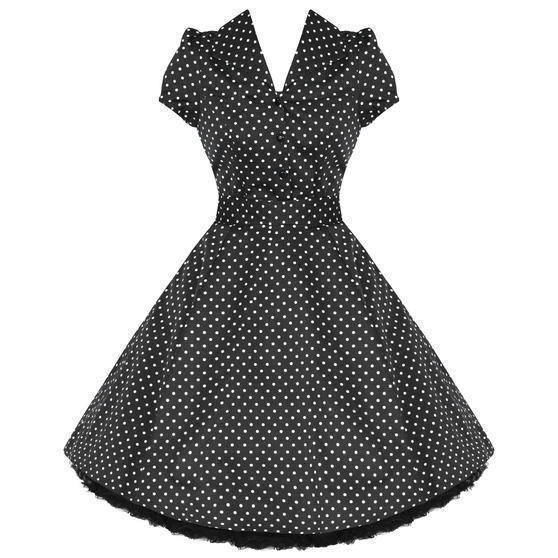 Hearts and Roses London Black Polka Dot 1950s Dress