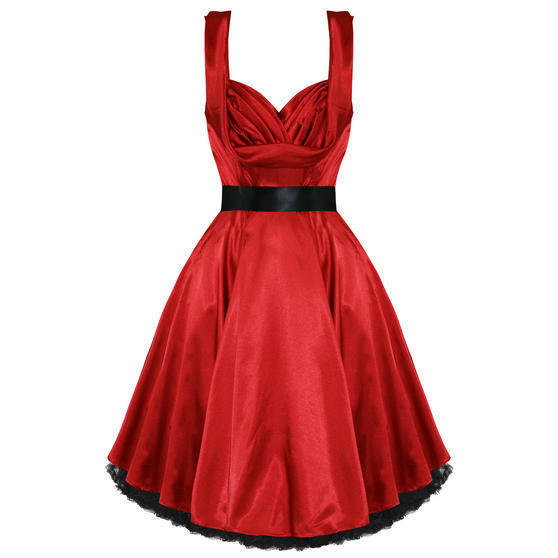 Hearts and Roses London Red Satin 1950s Dress