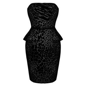 Womens Black Leopard Party Prom Peplum Cocktail Mini Bodycon Clubbing Dress UK
