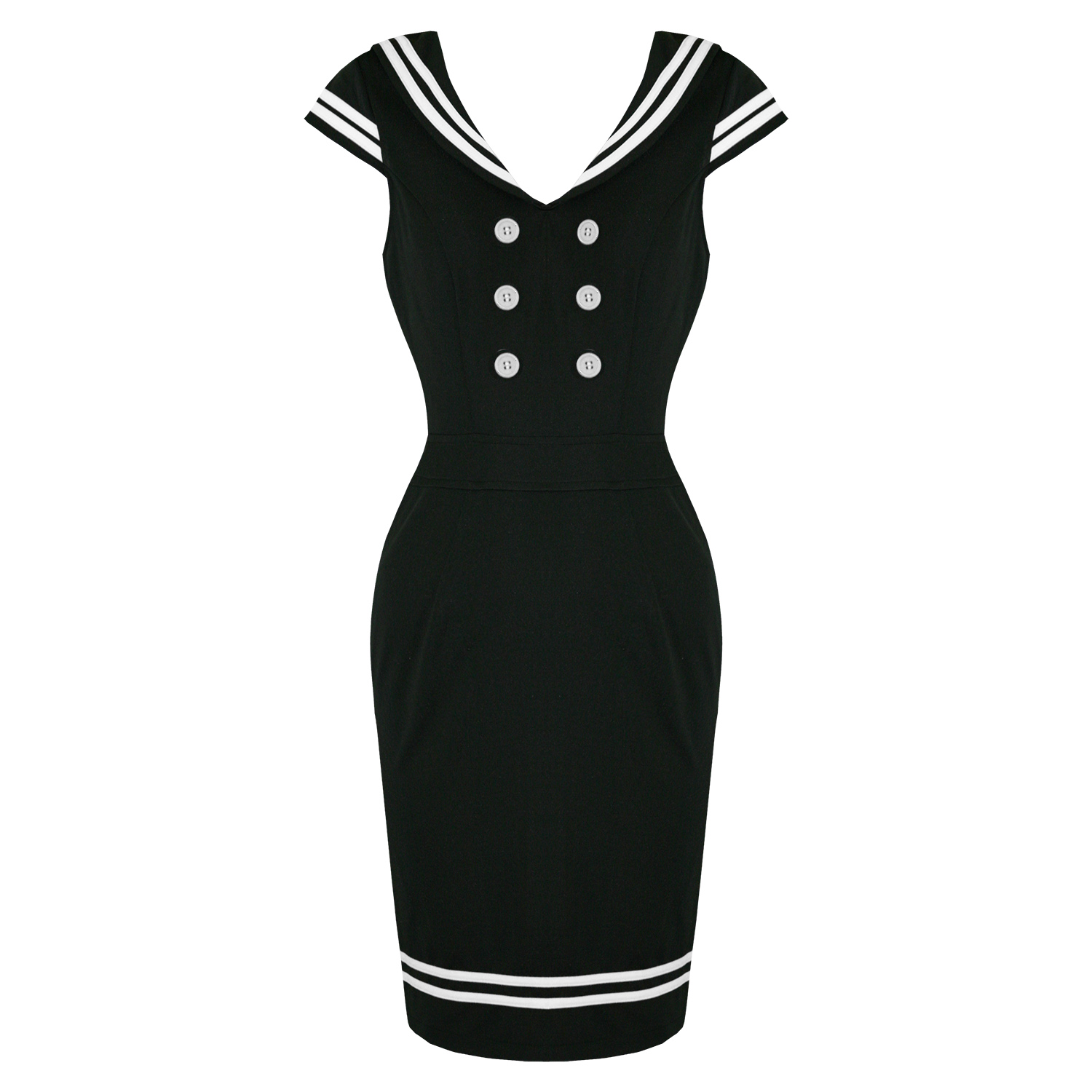 3cf880ee8 Hell Bunny Horizon Black Nautical Sailor Girl Rockabilly Vintage Pencil  Dress