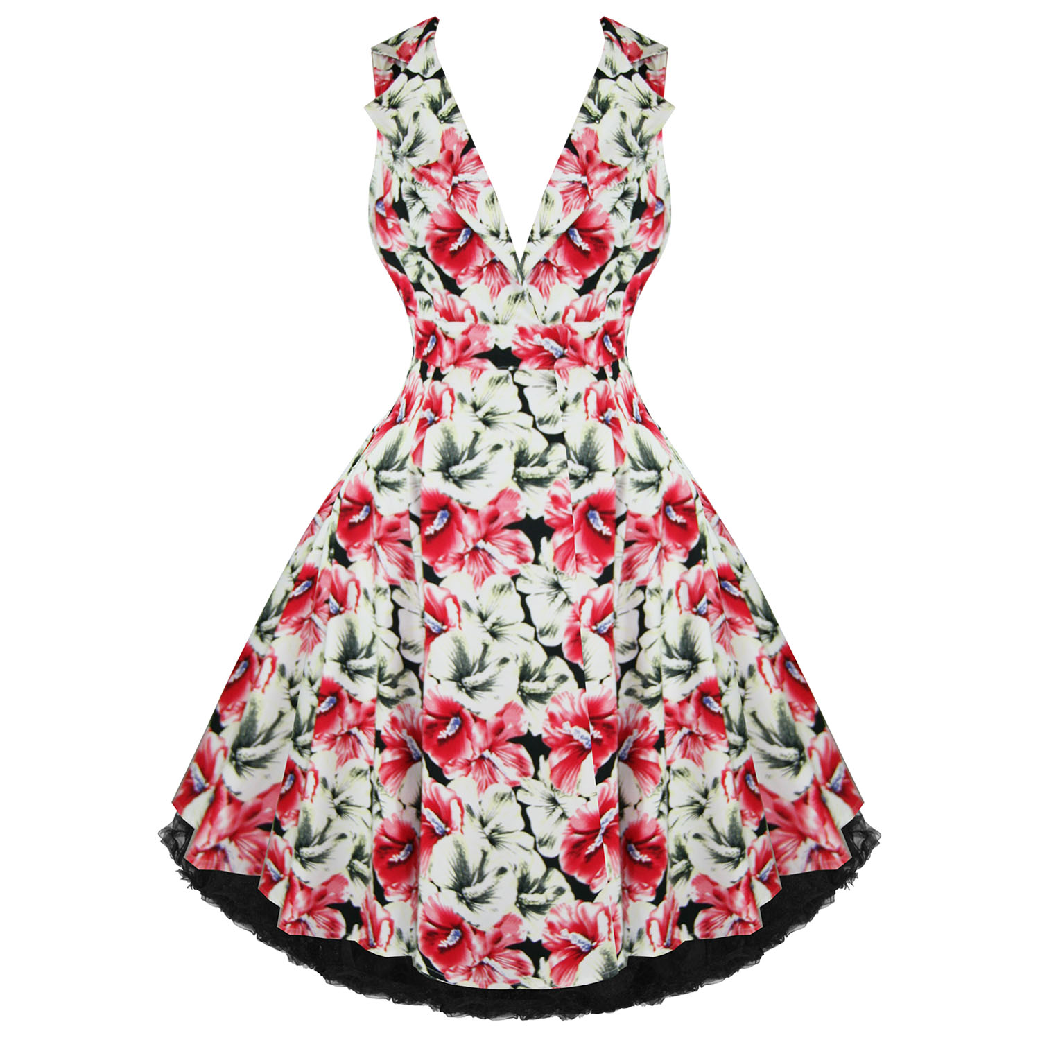 Hearts And Roses London Pink Floral 1950s Dress Plus