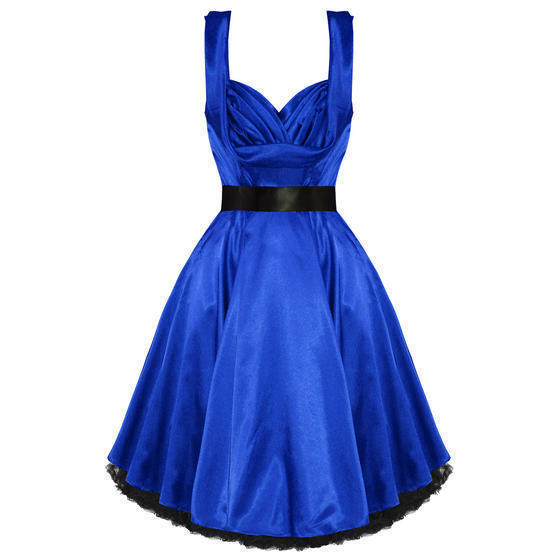 Hearts and Roses London Blue Satin 1950s Dress