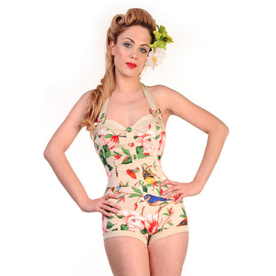 Banned Cream Floral Playsuit
