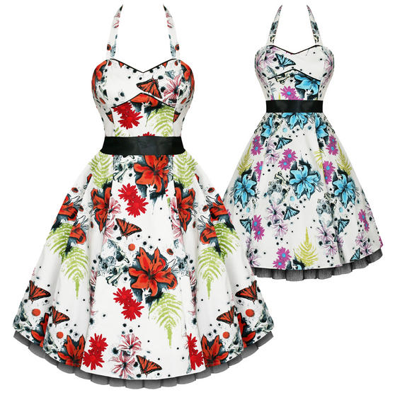 Hearts and Roses London Floral Butterfly 1950s Dress