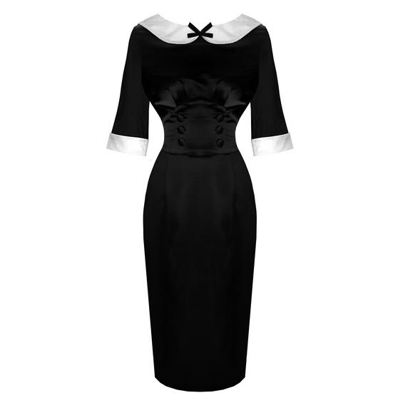 Hell Bunny Moneypenny Black Satin 1950s Vintage Retro Pencil Pin Up Wiggle Dress