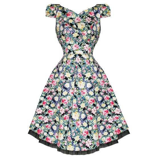 Hearts and Roses London Rose Print 1950s Dress