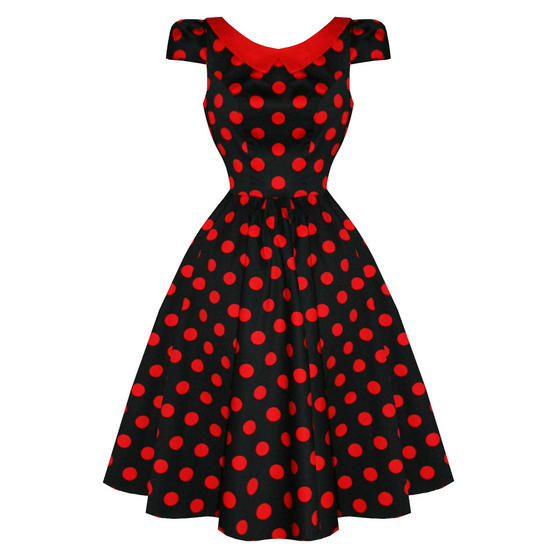 Hearts and Roses London Red Black Dot 1950s Dress