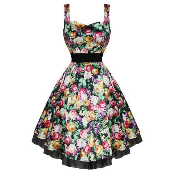 Hearts and Roses London Satin Floral 1950s Dress