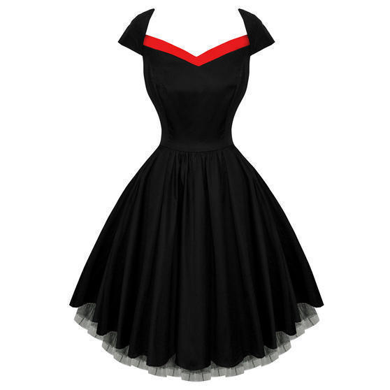 Hearts and Roses London Black Flared 50s Style Vintage Party Prom Dress UK