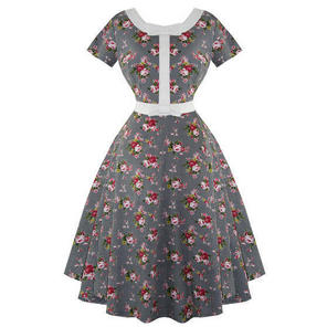 Whispering Ivy Floral Check 1950s Dress