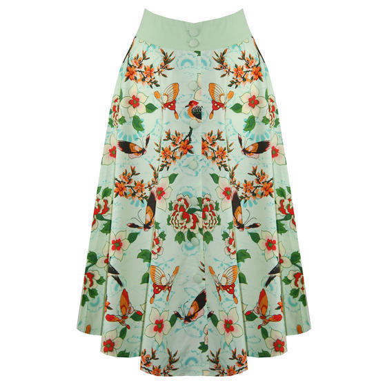 Banned Green Tropical Midi Skirt