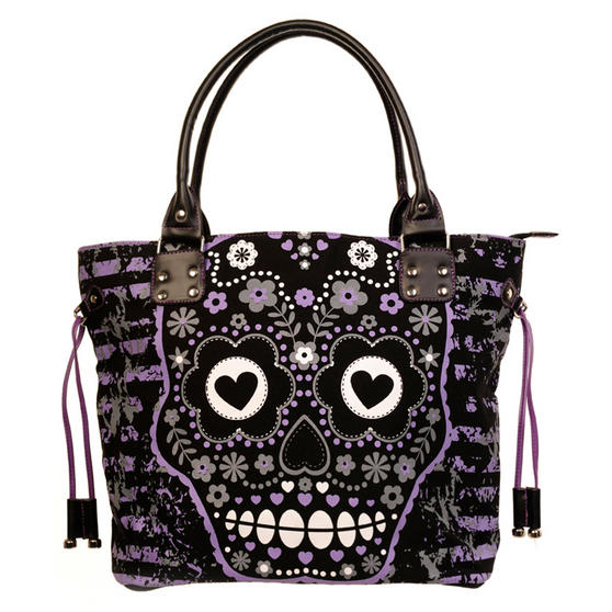 Banned Purple Sugar Skull Handbag