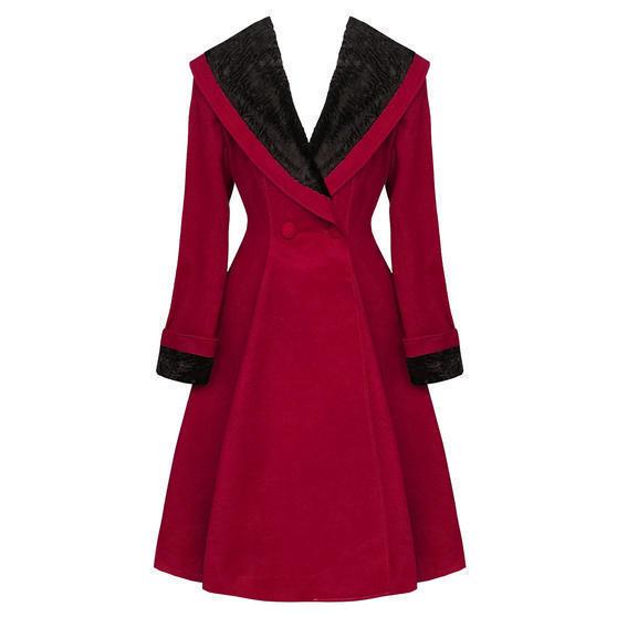 Hell Bunny Vivien Burgundy Coat