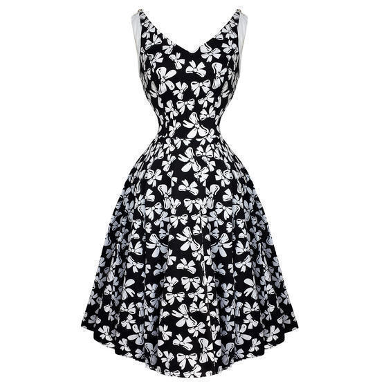 Hearts and Roses London White Bow 1950s Dress