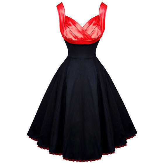 Hearts and Roses London Black Red Satin 1950s Vintage Party Prom Swing Dress