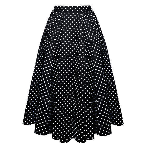 Hearts and Roses London Black Polka Dot Midi Skirt