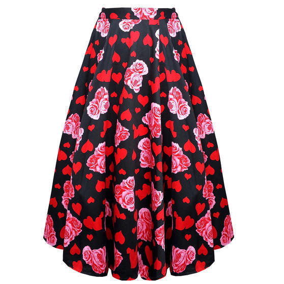Hearts and Roses London Floral Midi Skirt