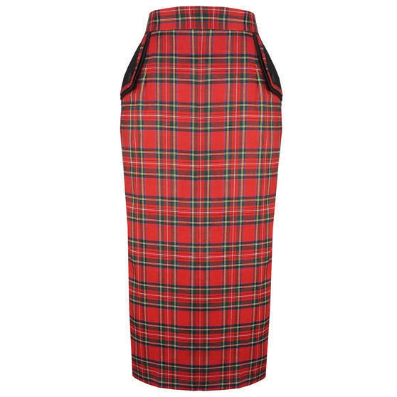 Banned Red Tartan Pencil Skirt